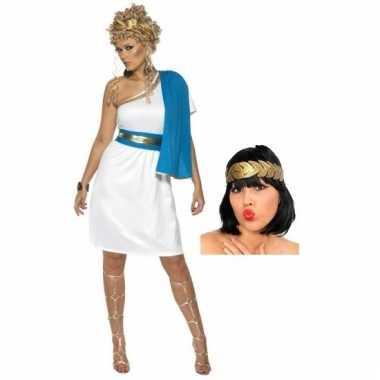 Romeinse jurk met accessoires voor dames maat m