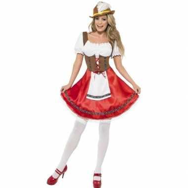 Rood/bruin dirndl verkleedkleding voor dames