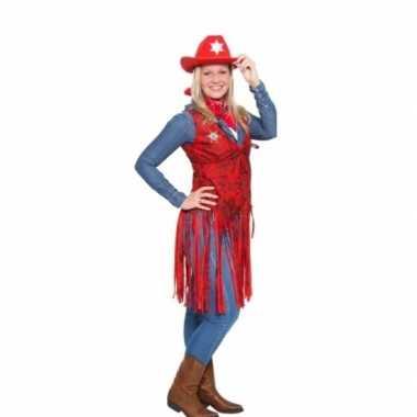 Rood cowboy kleding vestje voor dames