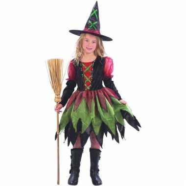Rood groene heksenjurk voor meisjes