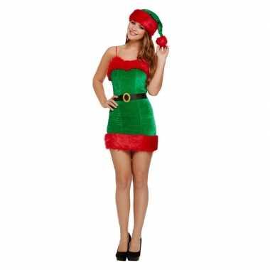 Rood/groene korte kerst jurk met muts voor dames
