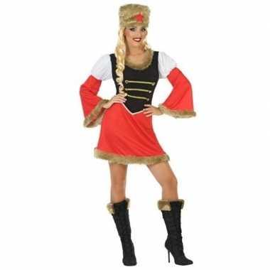 Rood/zwart kozakken jurkje voor dames