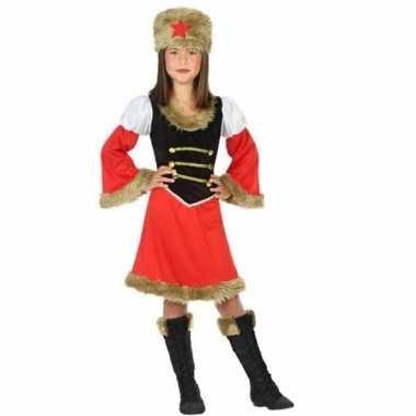 Rood/zwart kozakken jurkje voor meisjes