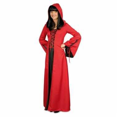 Rood zwarte jurk met capuchon