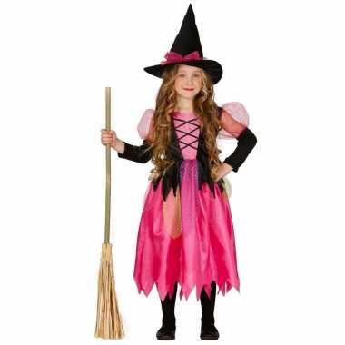 Roze heksenjurkje met heksenhoed voor kids