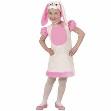 Roze konijn kostuum voor meisjes