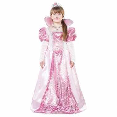 Roze koningin jurk met kroon voor meisjes