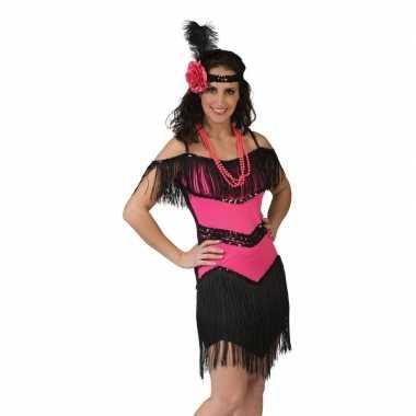 Roze met zwart charleston verkleed jurkje voor dames