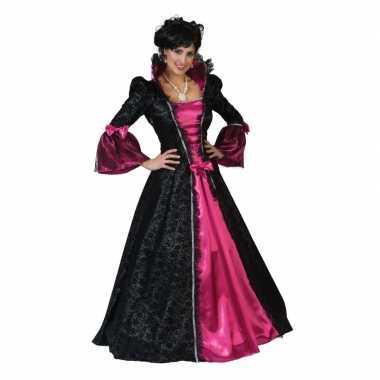 Roze/zwarte hofdame verkleed jurk voor dames
