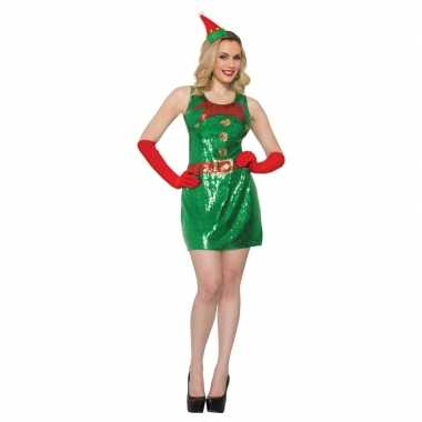 Sexy kerstelf jurkje met glitter pailletten voor dames