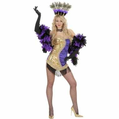 Showgirl jurkje goud/paars
