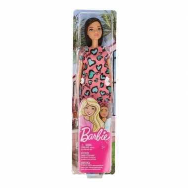 Speelgoed barbie trendy pop met roze jurkje en bruin haar voor meisjes/kinderen