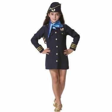 Stewardessen verkleed jurkje met pet en sjaal voor meisjes