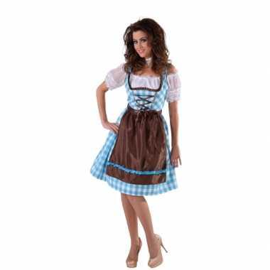 Tiroler jurk blauw met bruin schort