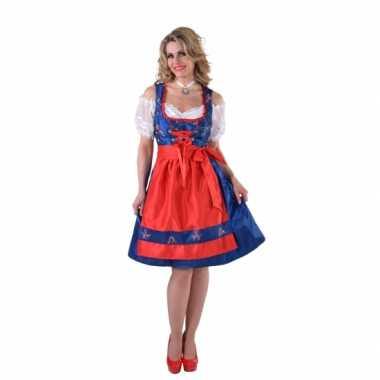 Tiroler jurk blauw met rood schort