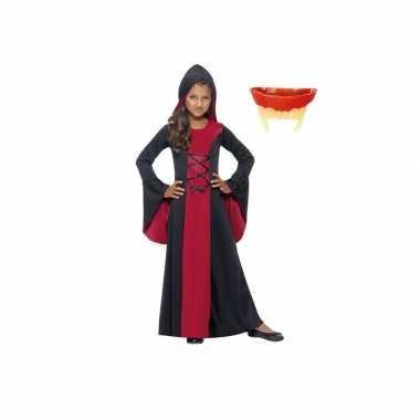 Vampier jurk rood/zwart voor meiden inclusief gebit