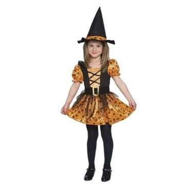 Verkleedkleding oranje heksen jurkje voor meisjes