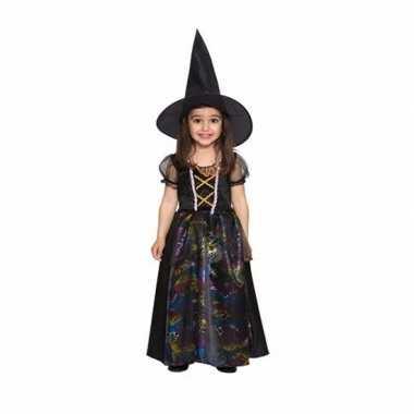 Verkleedkleding peuters zwarte heksen jurk voor meisjes