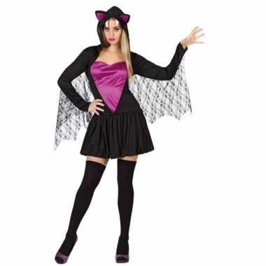 Vleermuizen jurken zwart met paars