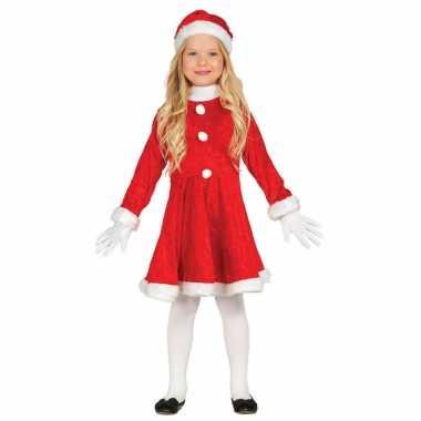 Voordelig kerstjurkje verkleedkleding pak met kerstmuts voor meisjes