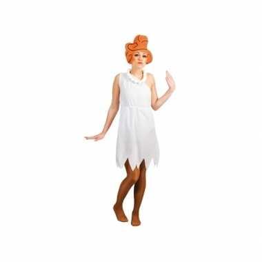 Witte wilma jurk met pruik voor dames