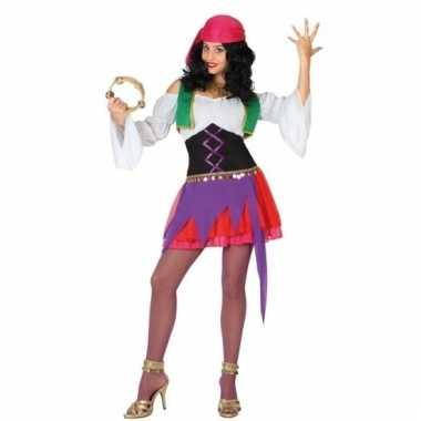 Zigeunerinnen kostuum paars roze voor dames 3 delig