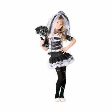 Zombie bruid meisjes kostuum zwart wit
