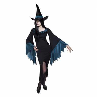 Zwart met blauw heksenjurkje voor vrouwen