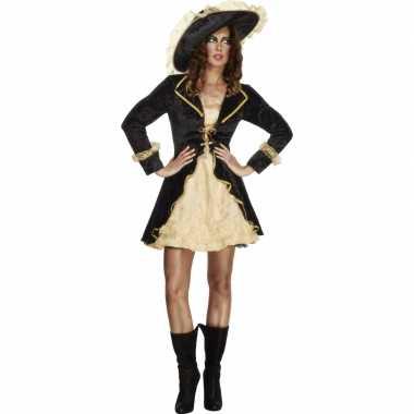 Zwart met goud dames piratenkostuum