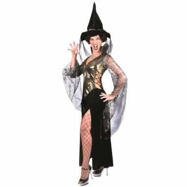 Zwart met gouden heksenjurk met hoed
