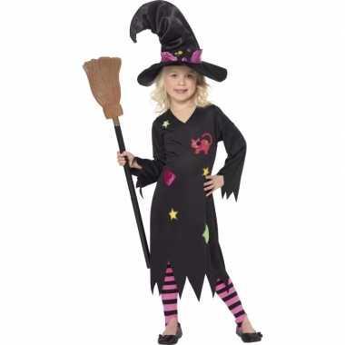 Zwart met roze heksen kostuum rosy voor meiden