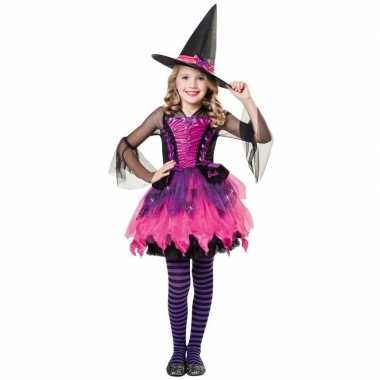 Zwart/paars/roze heksen jurk voor meisjes