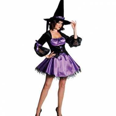 Zwart/paarse heksen jurk met kant