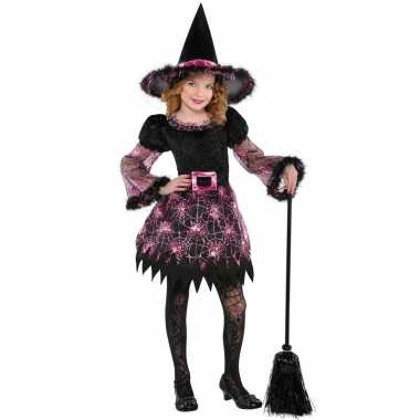 Zwart/roze heksen jurk voor meisjes
