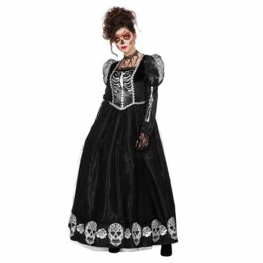 Zwarte day of the dead halloween jurk voor dames