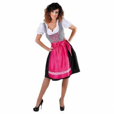 Zwarte dirndl jurk met roze schort voor dames