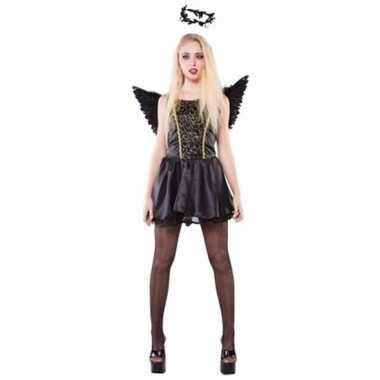 Zwarte fee dames kostuum