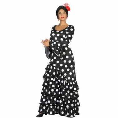 Zwarte flamenco verkleedjurk voor dames
