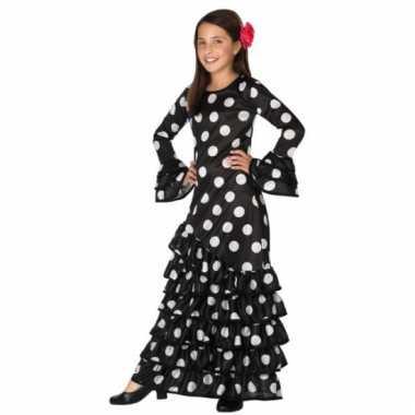Zwarte flamenco verkleedjurk voor kids