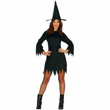 Zwarte heksen halloween jurk voor dames