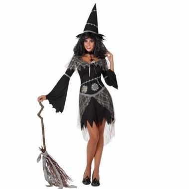 Zwarte heksenjurk met hoed voor dames