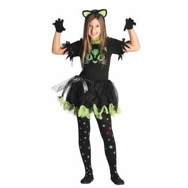 Zwarte kat/poes jurkje voor kinderen