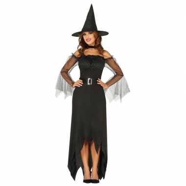 Zwarte lange heksen jurk voor dames