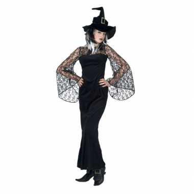 Zwarte lange heksenjurk voor dames