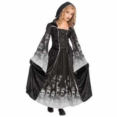 Zwarte lange zombie jurk voor meiden