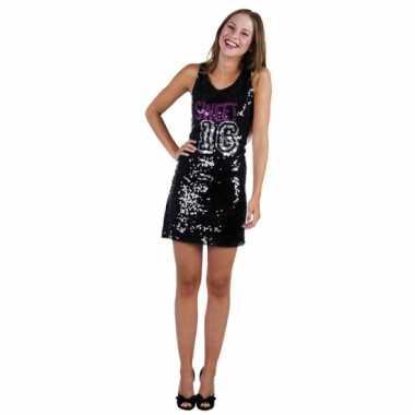 Zwarte pailletten jurkjes sweet 16