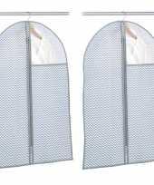 2x grijsblauwe beschermhoezen voor kleding kleren 60 x 90 cm
