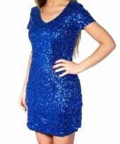 Glitter pailletten stretch jurkje blauw dames