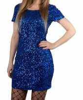 Glitter pailletten stretch jurkje blauw one size dames