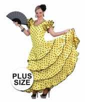 Grote maat gele jurk spaanse danseres
